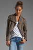 Image 1 of Jack by BB Dakota Sandler 2 Tone Crinkle Faux Leather Jacket in Concrete