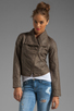 Image 2 of Jack by BB Dakota Sandler 2 Tone Crinkle Faux Leather Jacket in Concrete
