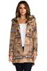 Image 1 of BB Dakota Davina Faux Coyote Fur Trim Patterned Coat in Light Camel Beige