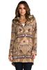 Image 2 of BB Dakota Davina Faux Coyote Fur Trim Patterned Coat in Light Camel Beige