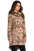 Image 3 of BB Dakota Davina Faux Coyote Fur Trim Patterned Coat in Light Camel Beige