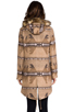 Image 4 of BB Dakota Davina Faux Coyote Fur Trim Patterned Coat in Light Camel Beige