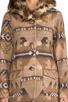 Image 5 of BB Dakota Davina Faux Coyote Fur Trim Patterned Coat in Light Camel Beige