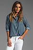 Image 1 of Jack by BB Dakota Saddie Dot Chambray Button Up in Med Blue