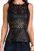 Image 4 of BB Dakota Harmony Faux Leather Peplum Top in Black