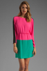 Image 1 of BCBGMAXAZRIA Long Sleeve Colorblocked Dress in Neon Pink Combo