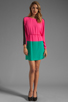 Image 2 of BCBGMAXAZRIA Long Sleeve Colorblocked Dress in Neon Pink Combo