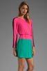Image 3 of BCBGMAXAZRIA Long Sleeve Colorblocked Dress in Neon Pink Combo