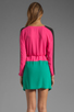 Image 4 of BCBGMAXAZRIA Long Sleeve Colorblocked Dress in Neon Pink Combo