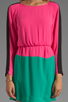 Image 5 of BCBGMAXAZRIA Long Sleeve Colorblocked Dress in Neon Pink Combo