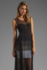 Image 1 of BCBGMAXAZRIA Sheer Maxi Tank Dress in Black Combo