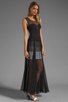 Image 3 of BCBGMAXAZRIA Sheer Maxi Tank Dress in Black Combo