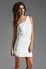 Image 1 of BCBGMAXAZRIA One Shoulder Mini Dress in White
