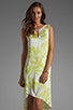 Image 1 of BCBGMAXAZRIA Hi-Low Dress in Gardenia/Light Lime