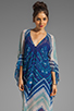 Image 1 of BCBGMAXAZRIA Short Sleeve Printed Maxi Dress in Dark Regal Blue Combo