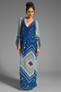 Image 2 of BCBGMAXAZRIA Short Sleeve Printed Maxi Dress in Dark Regal Blue Combo