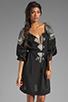 Image 1 of BCBGMAXAZRIA Long Sleeve Combo Dress in Black Combo