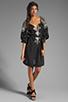 Image 2 of BCBGMAXAZRIA Long Sleeve Combo Dress in Black Combo