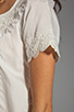 Image 4 of Beyond Vintage Silk Short Sleeve Shirt with Embroidery in Ivory