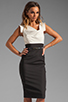 Image 1 of Black Halo Jackie O Two Tone Dress in Eggshell/Black