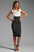 Image 2 of Black Halo Jackie O Two Tone Dress in Eggshell/Black