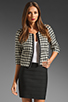 Image 1 of Black Halo Piccoli Crop Jacket Houndstooth in Black/White