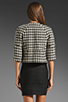 Image 3 of Black Halo Piccoli Crop Jacket in Black/White Houndstooth