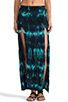 Image 1 of Blu Moon Two Slit Skirt in Turquoise Tie Dye