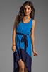Image 1 of Bobi Colorblock Supreme Jersey Asymmetric Dress in Tropez/Yacht