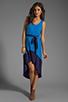 Image 2 of Bobi Colorblock Supreme Jersey Asymmetric Dress in Tropez/Yacht