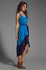 Image 3 of Bobi Colorblock Supreme Jersey Asymmetric Dress in Tropez/Yacht