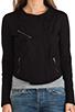 Image 5 of Bobi Cashmere Terry Moto Jacket in Black