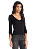 Image 2 of Bobi Light Weight Jersey V Neck Long Sleeve in Black