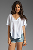 Image 1 of Bobi Lightweight Jersey Flutter Sleeve Top in White