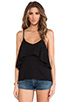 Image 1 of Bobi Light Weight Jersey Layered Tank in Black