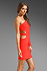 Image 4 of Boulee Allie One Shoulder Cut Out Dress in Hot Coral
