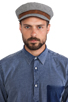 Image 2 of Brixton Fiddler Cap in Navy & White
