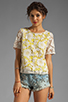 Image 1 of By Malene Birger Modish Life Voleria Top in Neon Yellow with Cream Lace