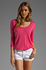 Image 1 of C&C California Long Sleeve Dolman Shirt Tail Sweater in Fuchsia