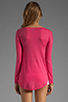 Image 2 of C&C California Long Sleeve Dolman Shirt Tail Sweater in Fuchsia