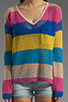 Image 3 of C&C California Linen Cotton Mesh Stripe Long Sleeve V-Neck Box Tee in Mirage
