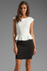 Image 1 of Central Park West Newport Peplum Short Sleeve Dress in Ivory/Black