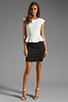Image 2 of Central Park West Newport Peplum Short Sleeve Dress in Ivory/Black