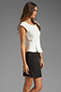 Image 3 of Central Park West Newport Peplum Short Sleeve Dress in Ivory/Black