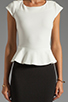 Image 5 of Central Park West Newport Peplum Short Sleeve Dress in Ivory/Black