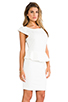 Image 3 of Central Park West Newport Peplum Short Sleeve Dress in Ivory