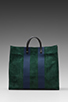 Image 2 of Clare V. Simple Tote in Forest Green/Navy