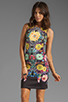 Image 1 of Clover Canyon EXCLUSIVE Turquoise Valley Neoprene Tank Dress in Black Multi