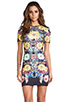 Image 1 of Clover Canyon EXCLUSIVE Turquoise Valley Neoprene Short Sleeve Dress in Black Multi
