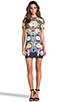 Image 2 of Clover Canyon EXCLUSIVE Turquoise Valley Neoprene Short Sleeve Dress in Black Multi